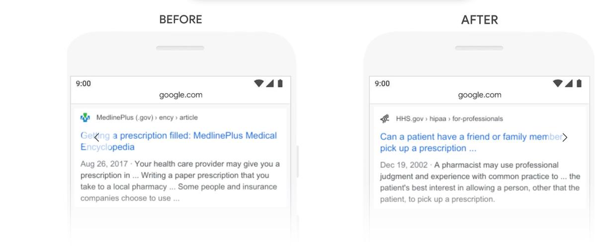 Bert Google Update Suche Medikamente Apotheke Beispiel