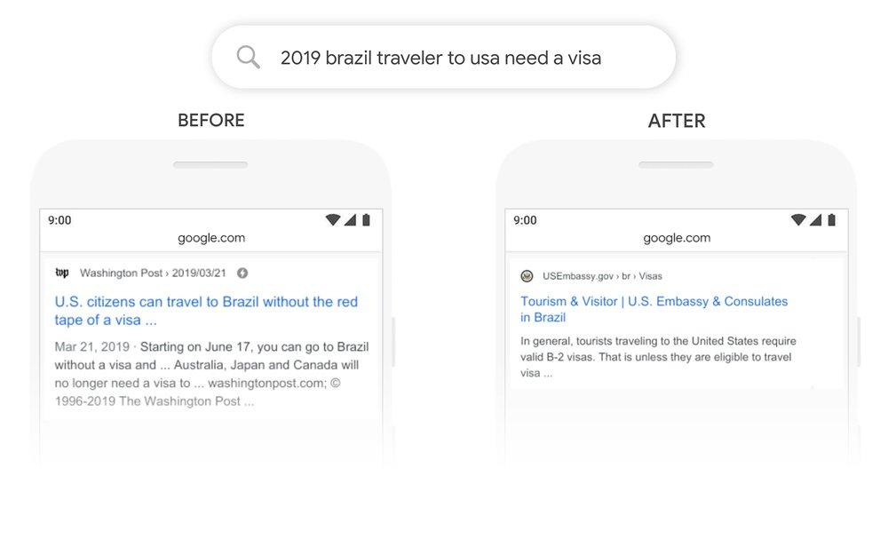 Google Update Bert Visum Amerika Beispiel
